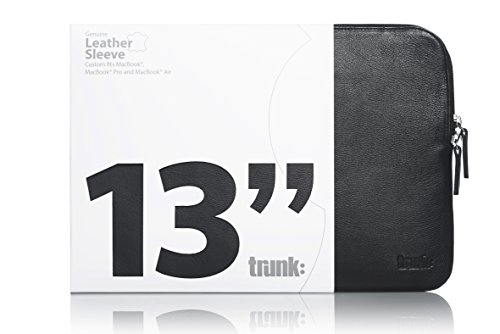 TRUNK TR-LEA13-BLK Leder Hülle für MacBook 13 Zoll schwarz