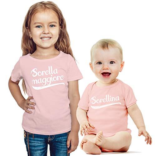 Sorella Maggiore e sorellina. Set per Neonati e Neonate Idea Regalo per Nascita Neonata Rosa 0-3 Mesi/Bimba Rosa 3-4 Anni (96/104cm)
