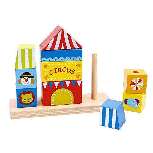 Tooky Toy Cirque en bois - Blocs de construction - Puzzle - Assemblage - 5 formes - à partir de 3 ans - env. 15 x 18,5 x 6 cm