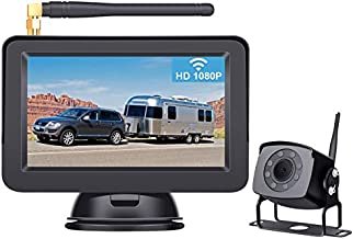 Leekooluu LK4 HD 1080P Digital Wireless Backup Camera System for RVs/Trucks/Trailers/Motorhomes with 5''Monitor Rear View System IR Night Vision IP69K Waterproof DIY Guide Lines Continuous/Reverse Use