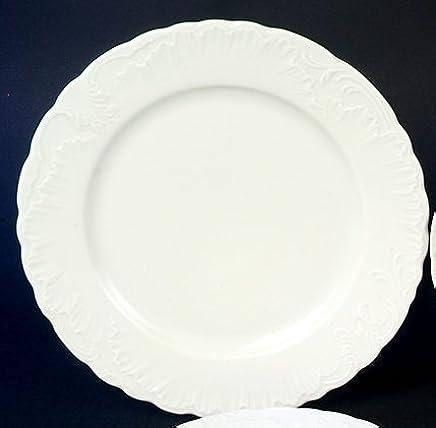 Preisvergleich für 6 Speiseteller Ess Teller flach 26cm Rocaille Weiss Neu Relief Rund Porzellan 6 Personen