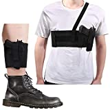 Accmor Deep Concealed Shoulder Holster + Ankle Holster for Concealed Carry, Adjustable Concealment Gun Holsters for Men and Women, Elastic Underarm & Leg Holsters with Magazine Pocket/Pouch