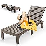 RELAX4LIFE Wetterfeste Sonnenliege, Relaxliege mit 5-stufig Verstellbarer Rückenlehne, Outdoorliege aus PP, Strandliege bis 180 kg belastbar, Gartenliege Liege für Garten & Balkon & Terrasse (Braun)