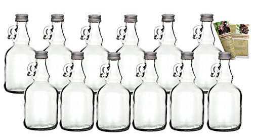 """gouveo 16er Set leere Glasflaschen \""""Henkel\"""" 250 ml Glasfläschchen; Flaschen incl. Schraubverschluss, Likörflaschen zum selbst Abfüllen Schnapsflaschen Essigflaschen Ölflaschen"""