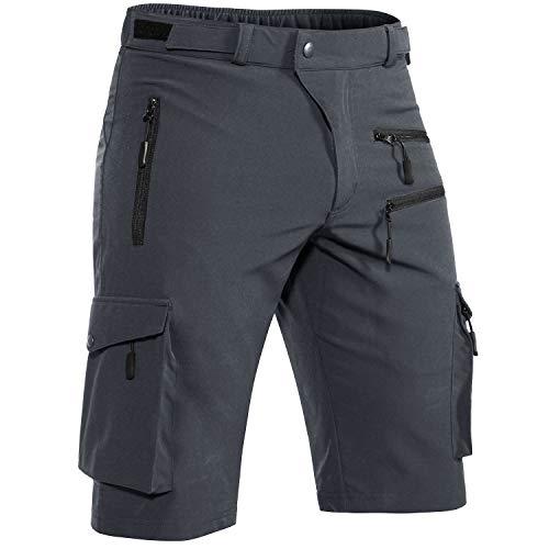 Hiauspor Men's Mountain Bike Shorts Stretch MTB Shorts Quick Dry with Zipper Pocket(Dark Grey,Medium)