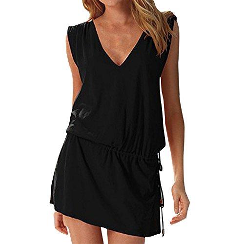 Landove - Vestido sin mangas para mujer, de verano, sexy, para la playa, informal, espalda abierta, para cócteles, ceremonias, fiestas.../ Negro Talla única