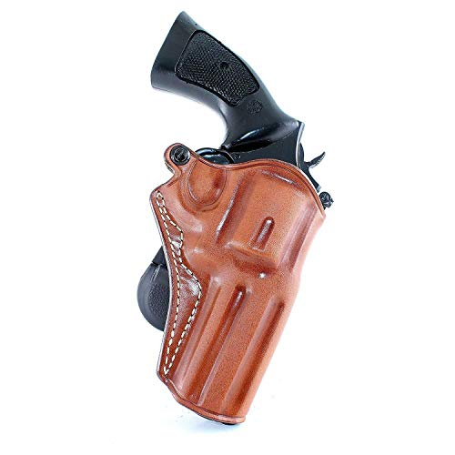 "Premium Leather OWB Paddle Holster Open Top Fits EAA Windicator 38 Special/ 357 Magnum Revolver 4"" inch 6 Shot, Right Hand Draw, Brown Color #1521#"