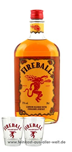 Fireball Likör Blended With Cinnamon & Whisky (0.7 l) + 2 Gläser