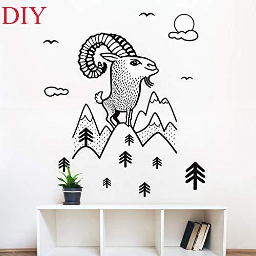 BailongXiao DIY Ziege Wandaufkleber Niedlichen Tiere Vinyl Wandtattoos Wohnkultur Bäume & Wandbilder Kindergarten 56x75 cm