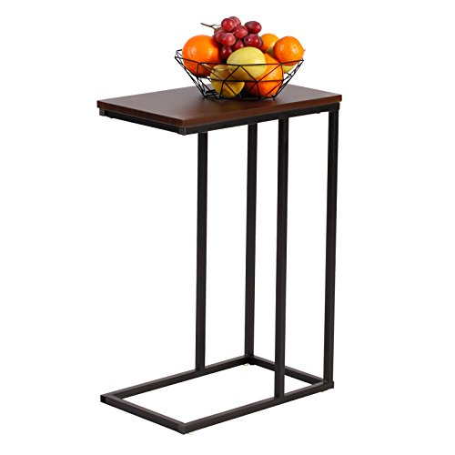 WOLTU End Table Side Table Coffee Table Dark Beech for Coffee Laptop with Metal Frame Nightstand Table Beside Table TSG17dc