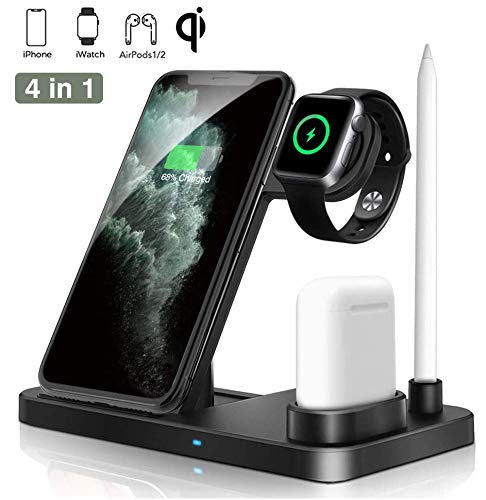 Wireless Charger Dock 4 in 1 Fast Charging Station, iKALUNA Nightstand QI Quick Charger, Foldable Adjustable Stand for iPhone SE/11/11 Pro Max/XR/XS Max/Xs iWatch 5/4/3/2/1 Airpods 2/1 Apple Pencil