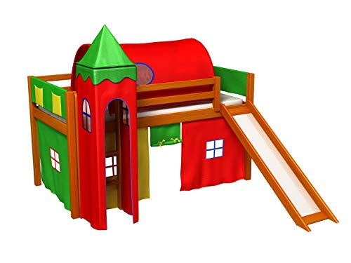 Bociek Meble Cama con tobogan,Torre,Tunel,2 x Bolsillos,Cortinas,colchón,Cama de Juego,Cama para niños,de Alta,Muchos Colores (ALISO-2031)