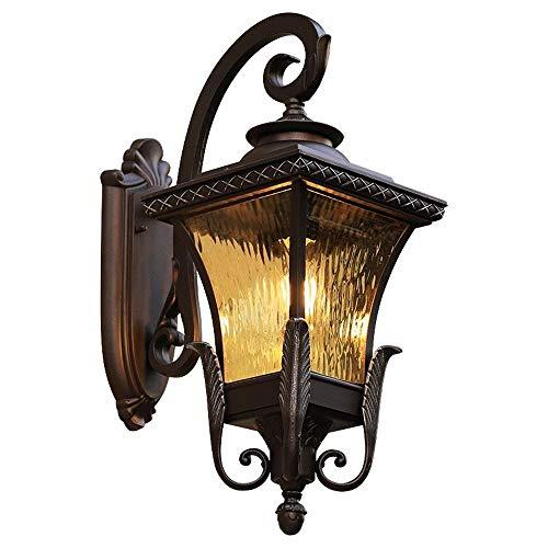 American Country - Lámpara de pared exterior para exteriores (impermeable, E27, soporte de aluminio, pantalla de cristal, estilo retro, estilo europeo, para entrada de garaje, porche, jardín, Lig