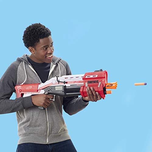 Nerf Fortnite TS Blaster -- Pump Action Dart Blaster, 8 Official Nerf Mega Fortnite Darts, Dart Storage Stock -- For Youth, Teens, Adults