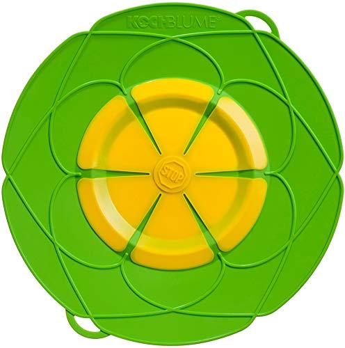 Kochblume vom Erfinder Armin Harecker XL 33 cm limette | Überkochschutz für Topfgrößen von Ø 20 bis 28 cm | Set mit Microfasertuch!