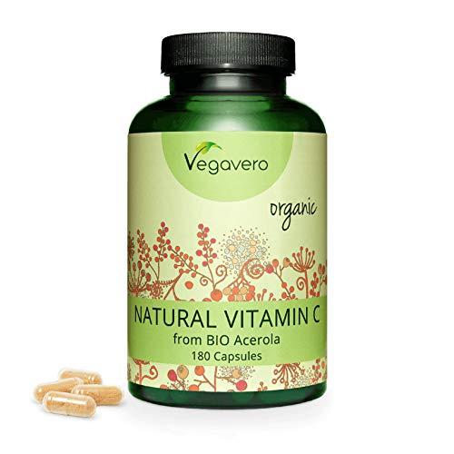 Vitamina C BIO Vegavero® | da Acerola | 180 capsule | 100% NATURALE, NON SINTETICA | SENZA ADDITIVI | Vegan