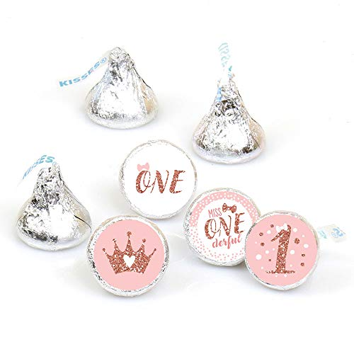 Big Dot of Happiness 1st Birthday Little Miss Onederful - Girl First Birthday Party Round Candy Sticker Favors - Labels Fit Hershey's Kisses (1 sheet of 108)