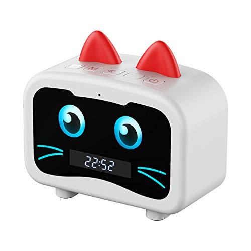 Logitech Inteligente Totoro Bluetooth Altavoz Reloj Despertador Encantador Pantalla LED Tarjeta de subwoofer al Aire Libre inalámbrico Regalo portátil,White