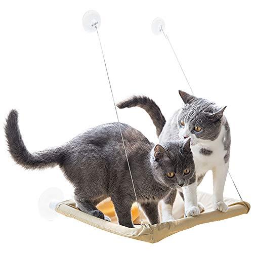 Inntek Katzen Hängematte Fensterplatz Atmungsaktiv Katzendecke, Katzenbett Haustierbett mit Starken Saugnapf & Edelstahl Kabel Sonnenbad bis zu 20kg für Katzen und Andere Kleintiere
