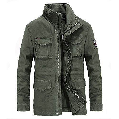 Mens Padded Hood Jacket Fleece Lined Winter Coat Men's mid-length cotton jacket-army green_XXXL
