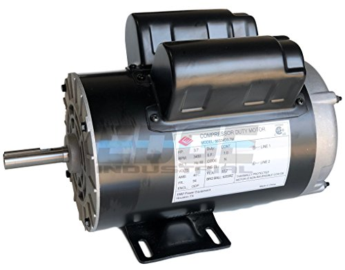 NEW 3.7HP COMPRESSOR DUTY ELECTRIC MOTOR, 56 FRAME, 3450 RPM, 5/8' SHAFT DIAMETER, NEMA RATED MOTOR, REPLACES 5HP SPL MOTORS RATED 15-17AMPS