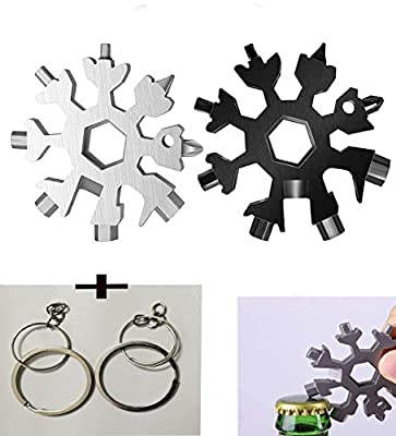 2PCS 18-in-1 Snowflake Multi Tool, Stainless Steel Snowflake Bottle Opener/Flat Phillips Screwdriver Kit/Wrench, Durable and Portable to Take, Great Christmas gift(Silver Black)