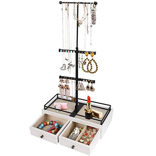 Keebofly Jewelry Organizer Metal & Wood Basic Storage Box - 3 Tier Jewelry Stand for Necklaces Bracelet Earrings Ring White