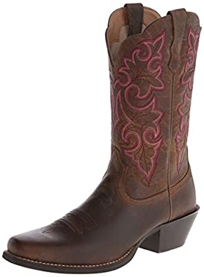 Ariat Women's Round Up Square Toe Western Cowboy Boot, Powder Brown, 8.5 M US