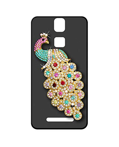 Sunrive Kompatibel mit Elephone P8000 Hülle Silikon,Glitzer Diamant Strass Handyhülle matt Schutzhülle Etui 3D Hülle Backcover (Pfau) MEHRWEG+Gratis Universal Eingabestift
