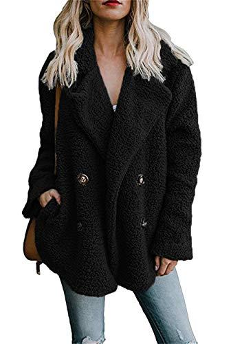 EFOFEI Damen Kurz Vorne Offen CardiganVordere Leistentaschen Zweireihig CoatTeddy Jacke Sherpa Coat Schwarz S