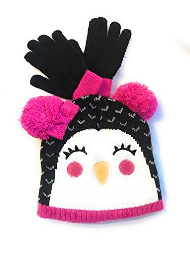 Faded Glory One Size 2pc Cuff Beanie Set Cap & Gloves (Black Bird)