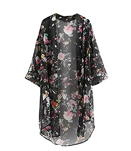 Minetom Mujeres Verano Impreso Floral de la Gasa Mantón Kimono Cardigan Tops Cover Up