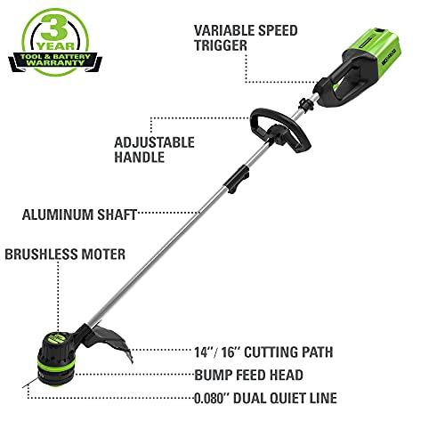 GreenWorks ST80L210 80V String Trimmer, 2.0Ah Battery & Charger Included