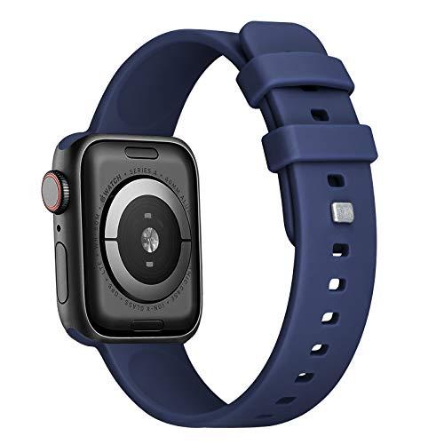FENGLIN Armband Kompatibel mit Apple Watch Armband 44mm 42mm 40mm 38mm, Weiche Silikon Sportriemen Ersatzarmband Kompatibel mit Apple Watch 6/iWatch Series 5/4/3/2/1,SE.(42mm 44mm Dunkelblau)