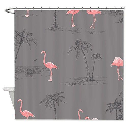 rioengnakg Schimmelresistent Stoff pink Flamingos grau Polyester Wasserdicht Duschvorhang, #1, 72