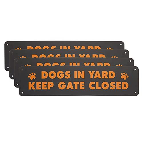 Okuna Outpost Metal Signs for Outdoors, Dog in Yard Keep Gate Closed Sign (12 x 3 in, 4 Pack)