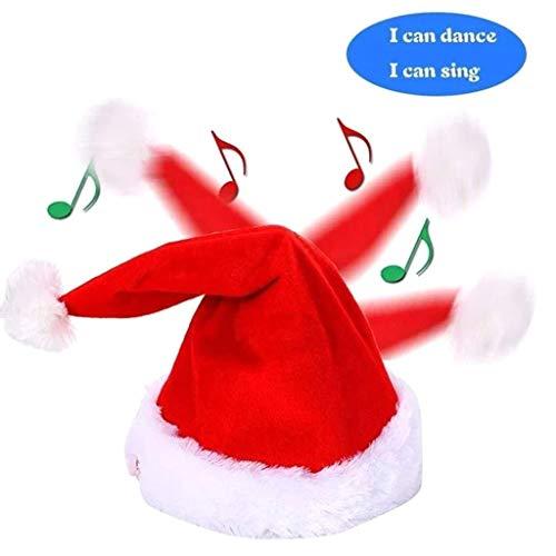 FENSIN Weihnachtsmützen,Singen Lustige Hutspielzeug Musik Weihnachtshut Einstellbare für Erwachsene und Kinder Xmas Party Home Dekoration (Rot)