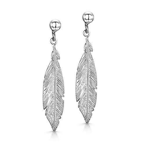 Amberta Pendientes Colgantes para Mujer en Plata de Ley 925 Colección Naturaleza: Pluma Boho