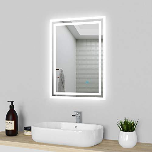Acezanble LED Badspiegel 50x70cm, Badezimmerspiegel mit Beleuchtung, kaltweiß Lichtspiegel,beleuchtet Wandspiegel mit Touchschalter + Beschlagfrei IP44 energiesparend,Spiegel Heizung,