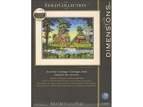DIMENSIONS Maße Summer Cottage Gold Collection Kreuzstich-Set, Mehrfarbig