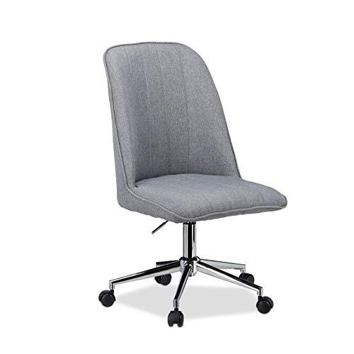 Relaxdays 10022900 Chaise de bureau design fauteuil pivotant hauteur réglable 120 kg HxlxP: 106 x 53 x 52 cm, gris, Chrome, 96 x 106 x 53 cm