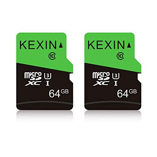 KEXIN 64GB Micro SD Karte 2 Stück UHS-3 MicroSDXC Speicherkarte bis zu 85 MB/s (Class 10 U3 C10) Memory Karte SD Card für Kameras, Tablets und Android Smartphones Sicherheitssystem(Schwarz Grün)