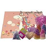 Be-Creative Juegos de regalo para bombas de baño, regalo hecho a mano, regalo de Navidad o cumpleaños (estuche rectangular grande de unicornio)