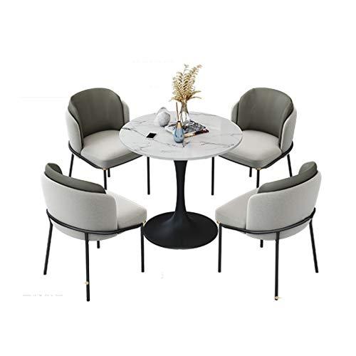 KEKOR Nordic Licht Luxus Tisch und Stuhl Kombination moderner Empfang und Freizeit Empfang Verhandlung Kleiner runder Tisch 1 Tisch und 4 Stühle (Color : Gray)