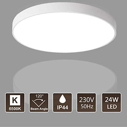 Kimjo LED Deckenleuchte 24W Deckenlampe, IP44 Wasserfest Badlampe, Kaltweiß 6500K 2160LM 23CM, Decke Badleuchte ideal für Badezimmer Wohnzimmer Schlafzimmer Küche Büro Balkon Flur