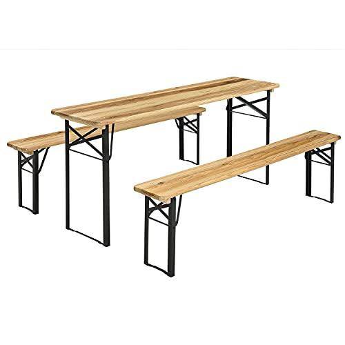 Juskys Bierzeltgarnitur Bichl 3-teilig & klappbar 170 x 46 x 77 cm - Gartenmöbel-Set aus 1 Biertisch & Bierbänke – Festzeltgarnitur Holz Camping
