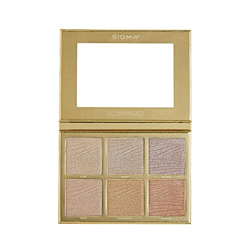 Sigma Beauty GlowKissed Highlight Palette | Highlighted Warm Tones | Glow Vibes, Mirror Included