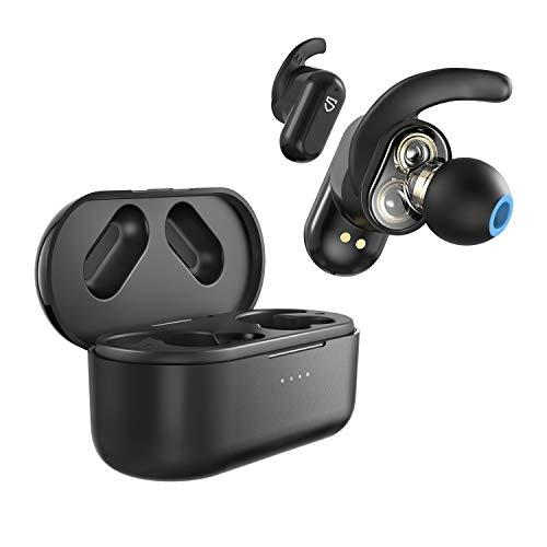 SOUNDPEATS Truengine 2 完全ワイヤレスイヤホン デュアルダイナミックドライバー使用 aptX SBCコーデック対応 TWS Plus対応 7時間長時間連続再生 高音質 Bluetooth イヤホン QCC3020チップセット搭載 ワイヤードイヤホン Freebit(フリービット)イヤーフック使用 Type-Cポート充電対応 ワイヤレス充電対応 フルワイヤレス イヤホン 良きフィット感 自動ペアリング 両耳/片耳モード対応 小型 防水 スポーツイヤホン Bluetooth5.0 ブルートゥース ヘッドホン サウンドピーツ [実用新案登録済み、技適マーク(技術適合証明)取得] ブラック
