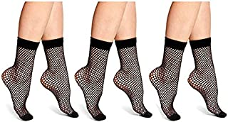 Carina Socks - Voile Socks Jakard 3 Pcs - For Women - Black