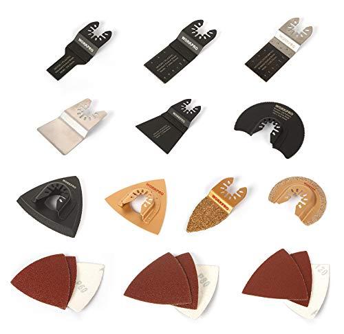 WORKPRO Oscillating Accessory Kit, Bi-Metal Blades w/Carbide Tips, Universal Quick-Release Mechanism, (24 pc. Kit)